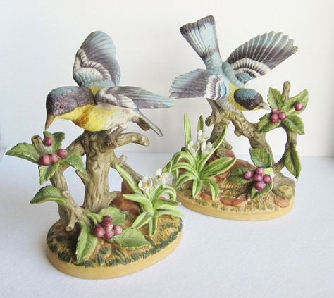 Vintage Jonathon Byron Porcelain Bird Figurines by BaggageandBones.