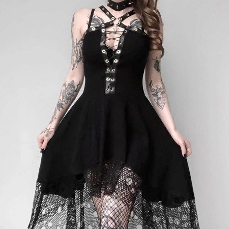 Black Purple Flames Dress Long Strap Cotton Jersey MAXI S//M Gothic Emo