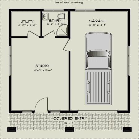 6x6 side entry garage with sleepout roller doors - Floorplan | Woodworking  | Pinterest | Roller doors, Doors and Bedrooms