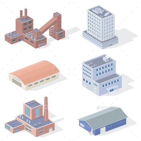 Isometric Industrial Buildings Ad Isometric Ad Industrial Buildings In 2020 Building Illustration Isometric Isometric Design