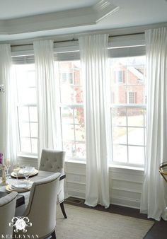 Hanging Curtains On Multiple Windows Google Search Window Treatments Living Room Dining Room Windows Dining Room Curtains