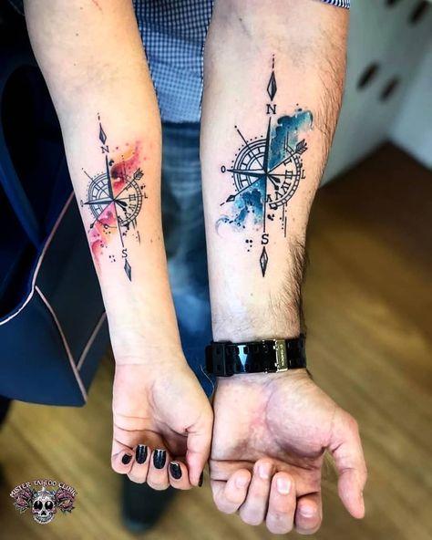 Bússola, Rosa dos Ventos, Flecha Tattoo de casal