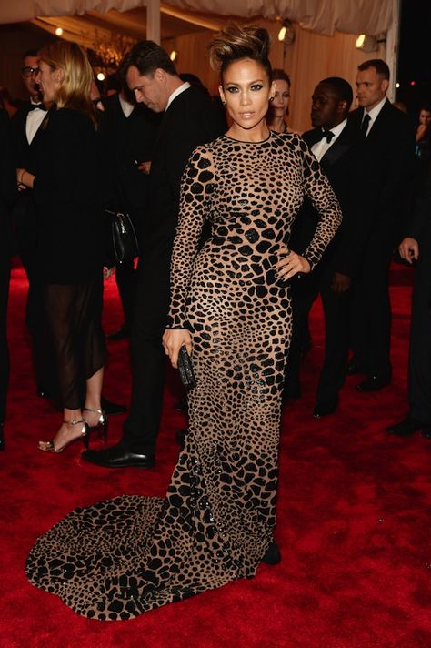 Jennifer Lopez looks ravishing in this figure-hugging leopard-print Michael Kors gown at the Met Ball in NYC this week