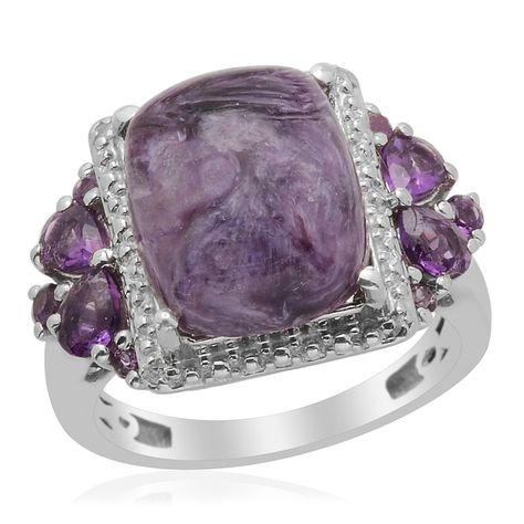 Liquidation Channel: Siberian Charoite, Amethyst, and Diamond Ring in Platinum Overlay Sterling Silver (Nickel Free)