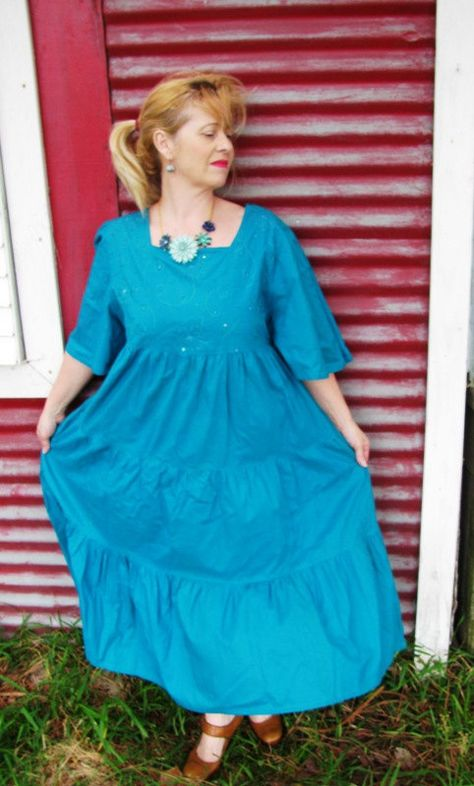 Vintage Cotton Country Girl Dress, Bohemian Teal Turquoise , Farmer's Daughter Rancher's Wife Pioneer Woman Feminine Texanan sexy Texan  Cowgirl Barn Dance  fashions Sequence, Cotton, Beach attire, Summer Dress, Size 5,  I wear an 8 10 n 5ft tall. $48.00, via Etsy.