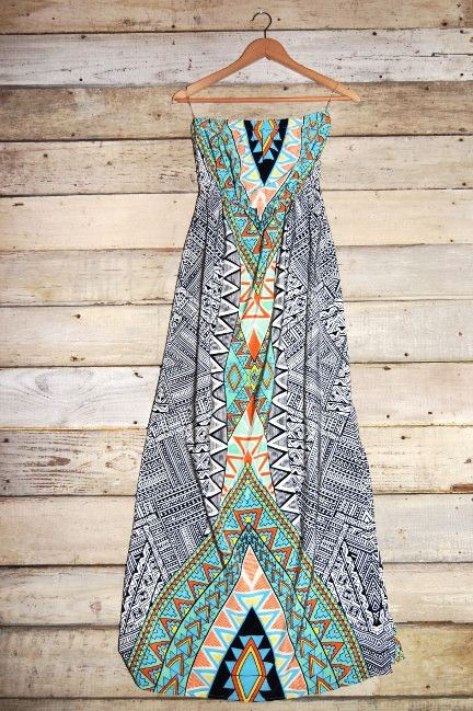 Tribal Print Tube Maxi Dress with Side Slit – Deep South Pout