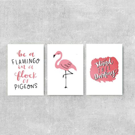 Flamingo Quote Print, Gift For Daughter, Set Of 3 Prints, Pink Wall Art, Flamingo Illustration, Stand Tall Darling, Inspirational Quote by violetandalfie on Etsy