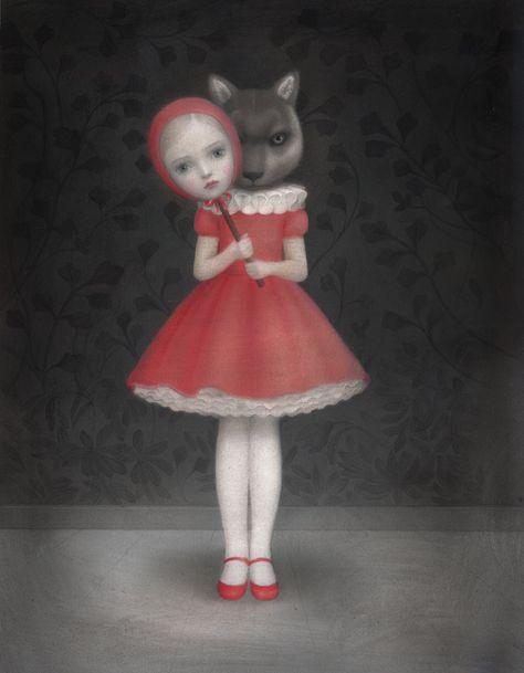 "Recent work by Italian artist and illustrator Nicoletta Ceccoli (previously featured here). See more images from ""Hide and Seek"" below … Mark Ryden, Creepy Art, Weird Art, Arte Horror, Horror Art, Pop Art, Lowbrow Art, Italian Artist, Whimsical Art"
