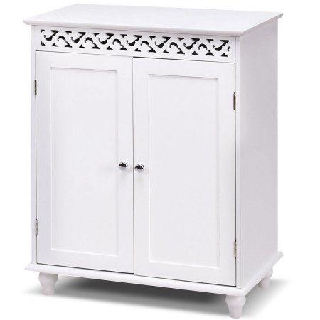 Gymax White Wooden 2 Door Bathroom Cabinet Storage Cupboard 2 Shelves Free Standing Walmart Com Bathroom Floor Cabinets Cupboard Storage Bathroom Storage Cabinet