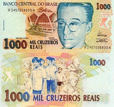 Scwpm P240 Tbb B862a 1 000 Cruzeiros Reals Brazilian Banknote