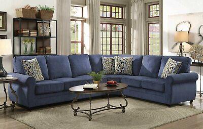 Modern Sectional Living Room Furniture Blue Fabric Sofa In 2020 Living Room Sofa Sectional Sofa With Recliner Blue Sectional