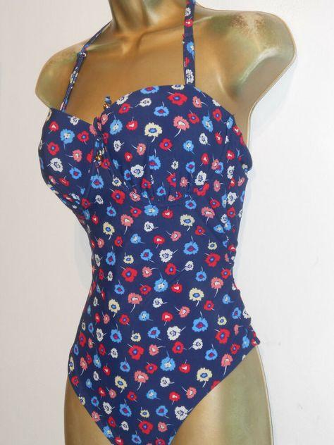 M/&S Blue Spotted Swimsuit Secret Slimming Padded Strapless Halterneck Bandeau