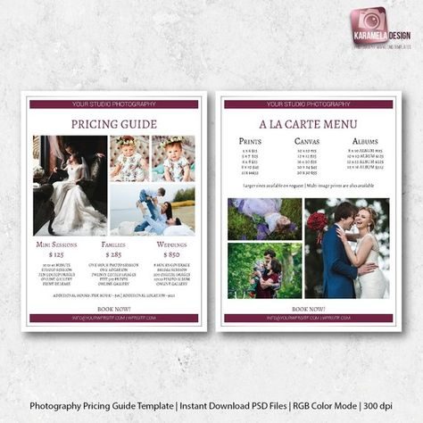 Photography Price Sheet Wedding Pricing Template List Guide