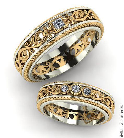 Свадебные украшения ручной работы. Ярмарка Мастеров - ручная работа. Купить Обручальные кольца с бриллиантами. Handmade. Свадьба, любимой, любимому