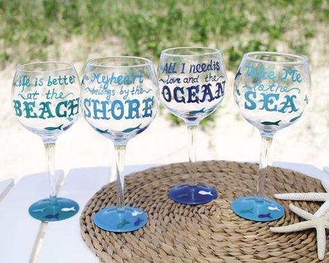 Ocean Quotes Wine Glasses  