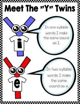 """Introduce your students to the """"Y"""" twins. I and E are twin brothers with different sounds. Use these cute y as a vowel activities to familiarize your students with the sound that each one makes. Phonics Reading, Teaching Phonics, Preschool Learning, Teaching Reading, In Kindergarten, Reading Comprehension, First Grade Phonics, First Grade Reading, Reading Strategies"""
