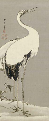 Ito Jakuchu (1716-1800) Two Cranes, 1798 Signed Beito'o hachijusansai ga, sealed To Chugin in and Jakuchu koji Hanging scroll; ink on silk