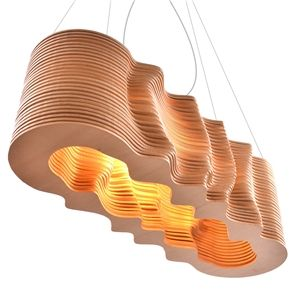 Parametric Pendant Light Stylish Wave Design Pendant Lamp Dinning Room Living Room 3d Effect Decorative Diy In 2020 Wooden Pendant Lighting Pendant Light Pendant Lamp