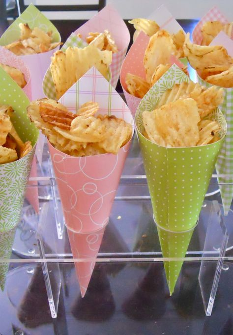 pink and green baby shower food cones... maybe with popcorn? use other colors
