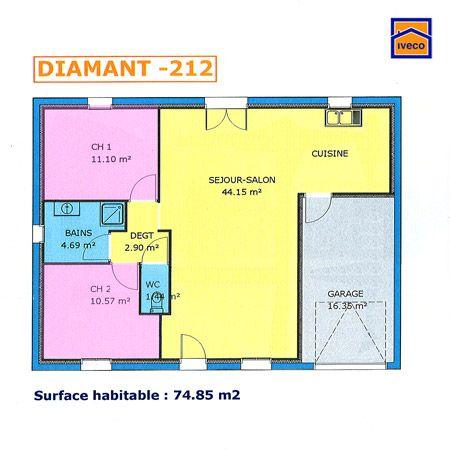 Plan Maison Plain Pied 80m2 2 Chambres En 2020 Plan Maison Plain Pied Maison Plain Pied Plan Maison