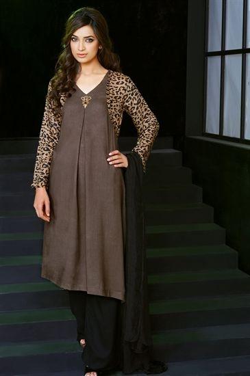 95726e3612 Animal Print Linen Kameez With Trousers and Plain Dupatta