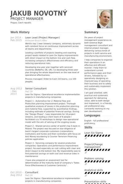 lean lead (project manager) Resume Example private Pinterest - it project manager resume