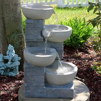 Fiber And Resin Bowl Fountain With Light Diy Water Fountain Fountains Outdoor Indoor Water Fountains