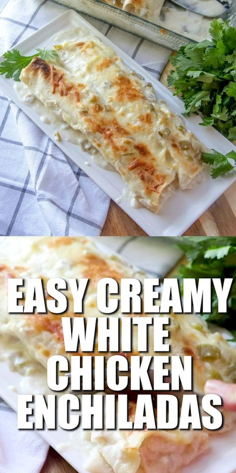 One of the most popular Country Cook recipes! Creamy White Chicken Enchiladas are made with flour tortillas, shredded chicken, mozzarella, green chiles and a delicious white cream sauce!