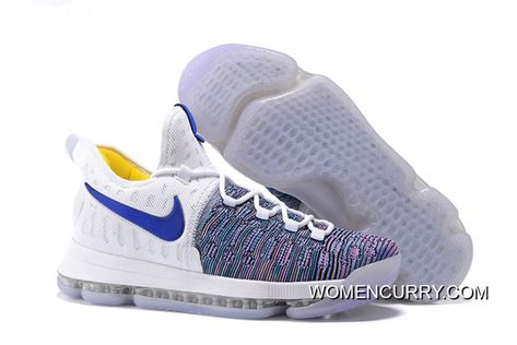 65235fc2e91d  WARRIORS   Nike KD 9 White Blue Grey Men s Basketball Shoes Authentic
