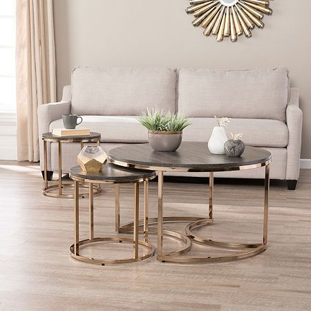 Dianto Round 3 Piece Nesting Coffee Table Coffee Table Living