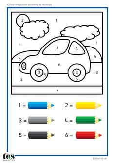 Simple colour by numbers pictures with clear visuals. Fish and Seahorse activiti… Simple colour by numbers pictures with clear visuals. Fish and Seahorse activities use four colours. Rocket and car activities use six colours.