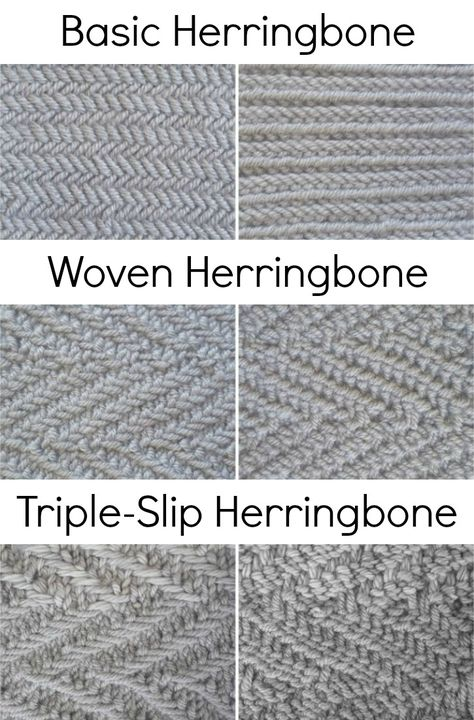 Almost every herringbone stitch article, tutorial, and pattern makes a point of saying that it's a tricky, troublesome stitch with a gorgeous texture. Herringbone Stitch Knitting, Slip Stitch Knitting, Knitting Stiches, Free Knitting, Crochet Stitches, Knitting Patterns, Herringbone Stitch Tutorial, Sock Knitting, Knitting Tutorials