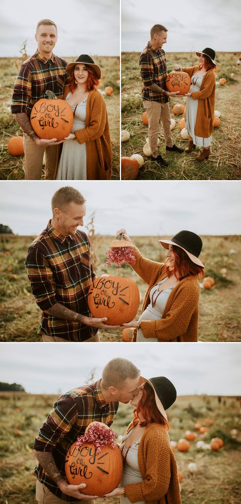 Fall Gender Reveal Inspiration Pregnancy Announcement Photos // Fall Gender Reveal Inspiration // Ca Fall Gender Reveal, Pumpkin Gender Reveal, Gender Reveal Pictures, Halloween Gender Reveal, Pregnancy Gender Reveal, Baby Gender Reveal Party, Pregnancy Photos, Baby Photos, Fall Pregnancy Announcement