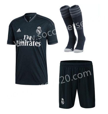 2018 19 Real Madrid Away Black Thailand Soccer Uniform With Socks Soccer Uniforms Real Madrid Football Club Real Madrid
