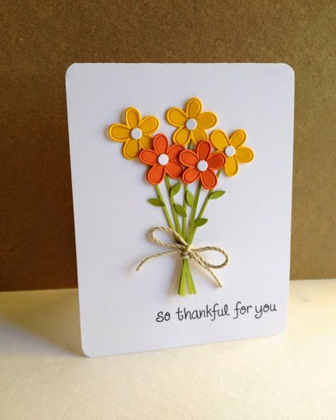 Today, my last thankful card is flower filled. I used a Paper Smooches flower, leaf, and center dies, and cut strips of green for the stems. I layered the outline of the flowers as well as their c Cute Cards, Diy Cards, Your Cards, Handmade Thank You Cards, Greeting Cards Handmade, Thanksgiving Greeting Cards, Diy Thanksgiving, Paper Smooches, Paper Cards