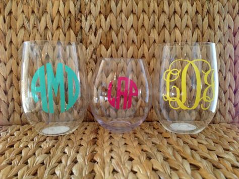 Personalized acrylic stemless wine glass, $7.50 etsy