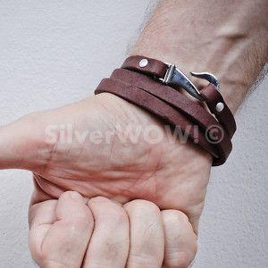 mens leather bracelets   Mens Leather Bracelet - Wrap Design (in BROWN or BLACK)   eBay