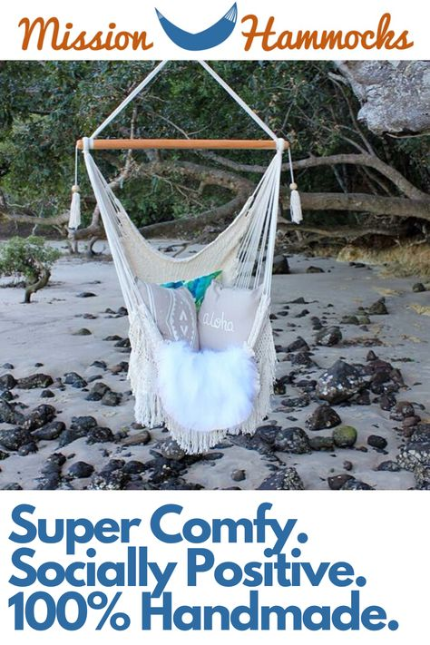 We make some of the comfiest hammock chairs in the world! Our macrame hanging chair is handmade using all natural cotton, and makes a statement in any room, including bohemian decor. Best used in the bedroom, living room, patio, or any other small space where you'd like to create a seating area.