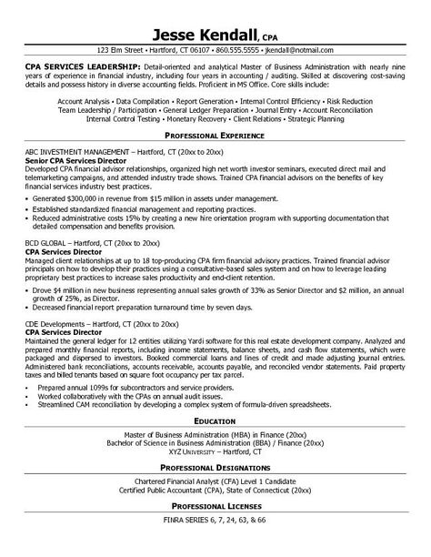 certified public accountant cpa services director resume example - cfa candidate resume