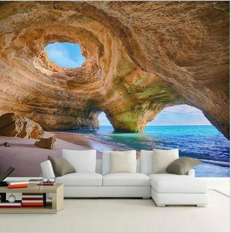 Stylish high quality cave sea beach scene wall paper. 3d landscape photo print wallpaper for walls, home or business use. Free international shipping.