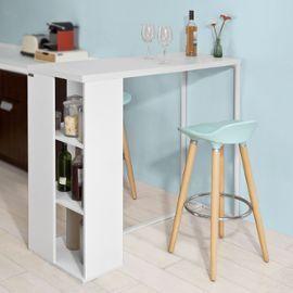 Sobuy Fwt39 W Table Haute De Bar Mange Debout Cuisine Avec 3 Etageres De Rangements Blanc En 2020 Avec Images Etagere Rangement Table Haute Rangement