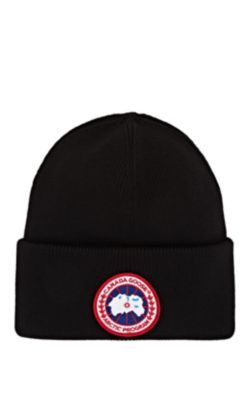 Canada Goose Wool Hat With Artic Program Emblem And Logo In Black Modesens Canada Goose Logo Canada Goose Patch Logo