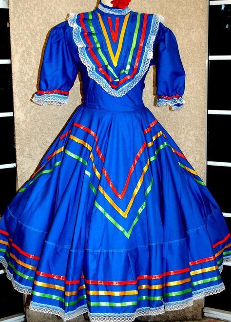 Girls Jalisco Dress With Super Wide Skirt Flow For Folklorico Dance Handmade New