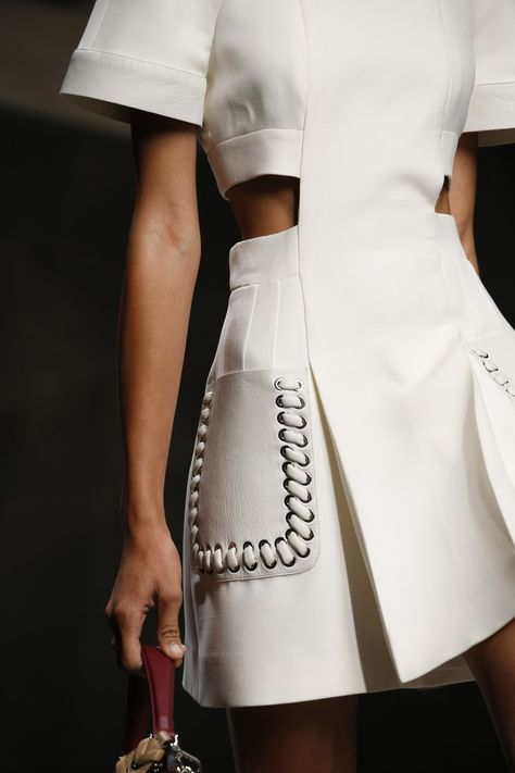 Close Up - Fendi Spring 2016 - Gorgeous white minidress with side cut outs and large pockets with oversize stitching.