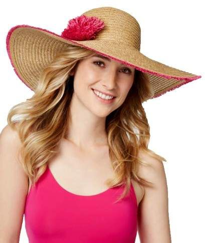 219c7e91cd34fa Nine West Womens Fringe Floral Super Floppy Hat Tan/pink One Size ...