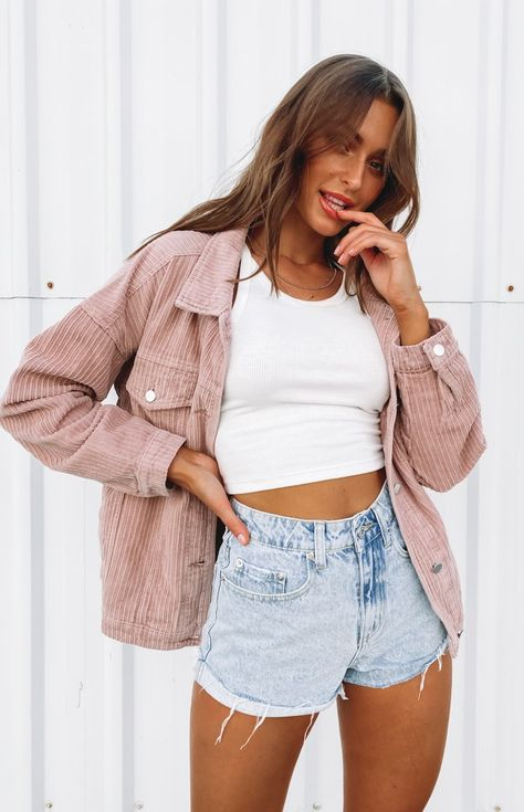 Teenage Outfits, Teen Fashion Outfits, Trendy Teen Fashion, Emo Fashion, Paris Fashion, Street Fashion, Cord Jacket, Surfergirl Style, Short Blanc