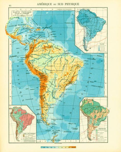 1950 Carte Amerique Du Sud Physique Planche Originale Atlas