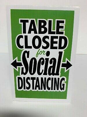 Table Closed For Social Distance Table TentRestaurant Table Closed Tent Card