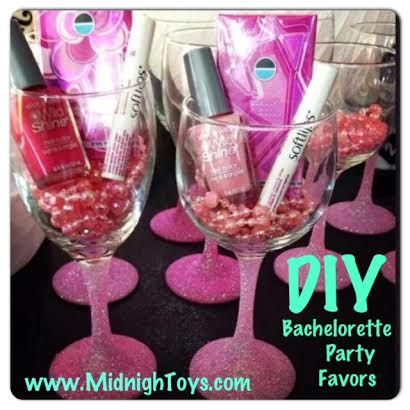 DIY Bachelorette Party Favors Wine Glass Beads Nail Polish Chapstick Gum Cute Sunglasses