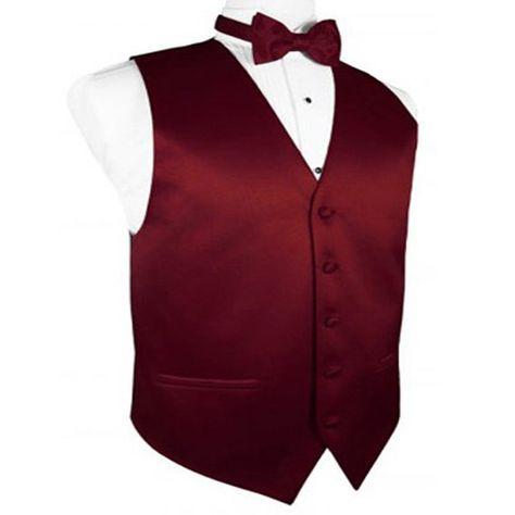 Shades of Reds and Pinks Satin Tuxedo Vests and Bow Ties Tuxedo Vest, Maroon Tuxedo, Red Tuxedo, Vest And Bow Tie, Red Vest, Bow Ties, Groomsman Attire, Groomsmen Grey, Pretty Quinceanera Dresses